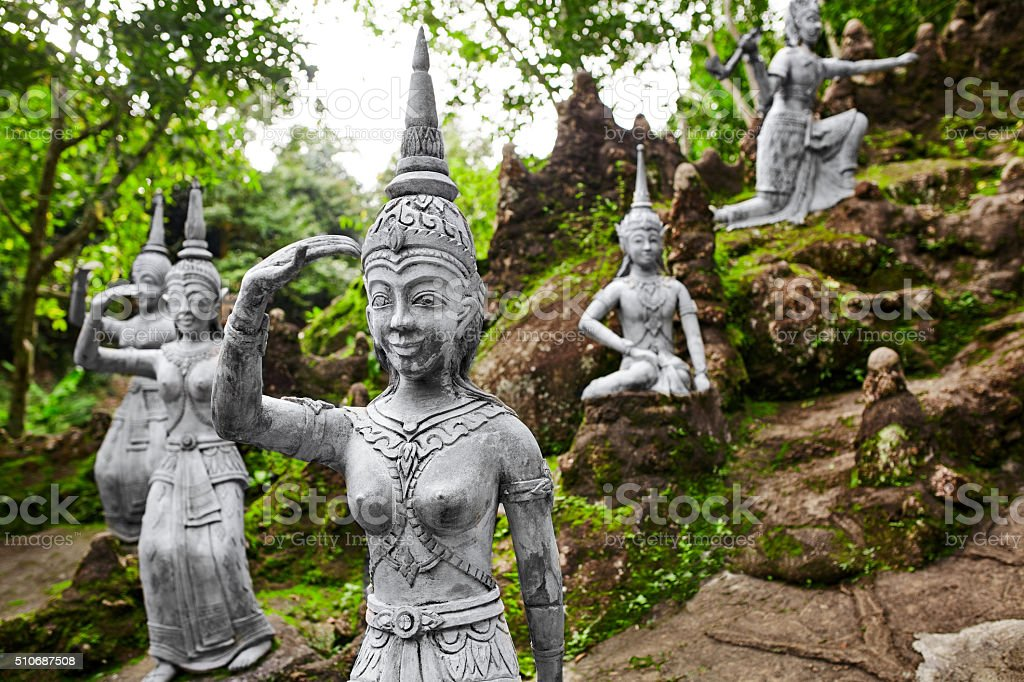 Statues In Secret Buddha Garden In Koh Samui. Buddhism Royalty Free Stock
