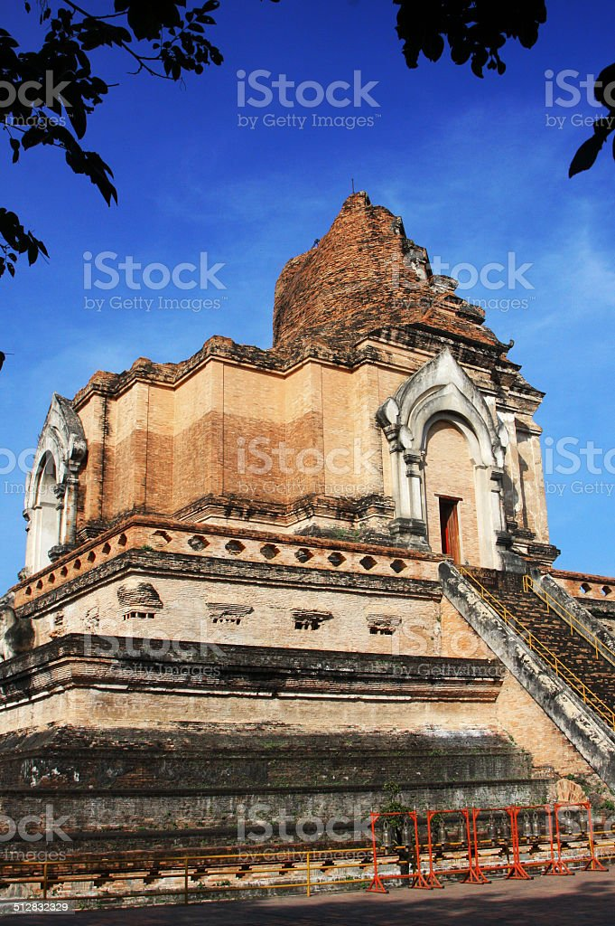 thailand temple at Wat Chedi Luang stock photo