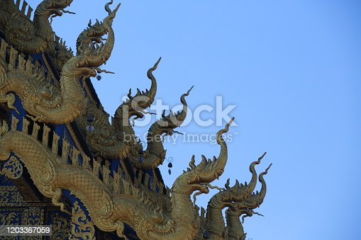 Thailand temple decoration of Thai style dragon so call Naga or Nagi