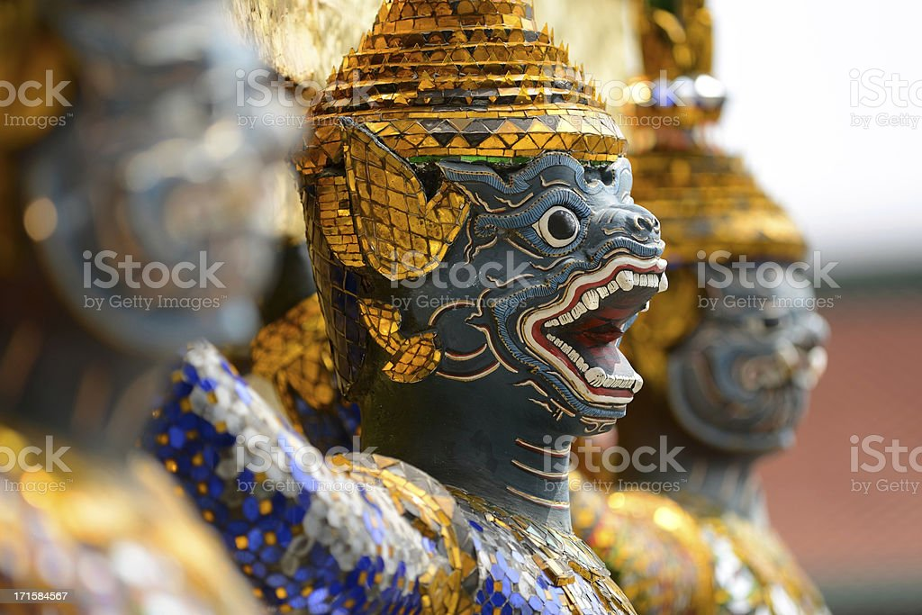 Thailand, Temple Guardian at Grand palace Bangkok royalty-free stock photo
