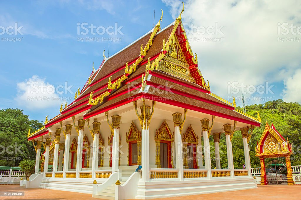 Thailand temple  is beautiful with blue sky stock photo