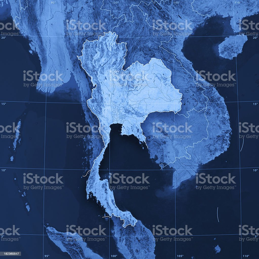 Thailand Topographic Map royalty-free stock photo