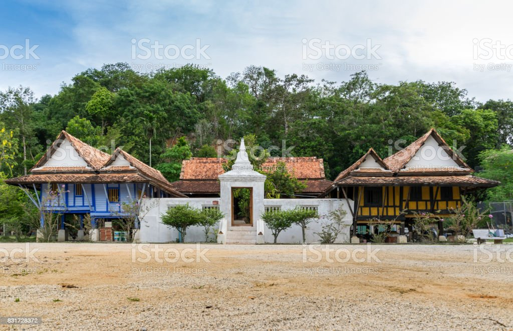 Thailand Traditional Local Architecture Building in Wat Tai Yor Songkhla Thailand stock photo