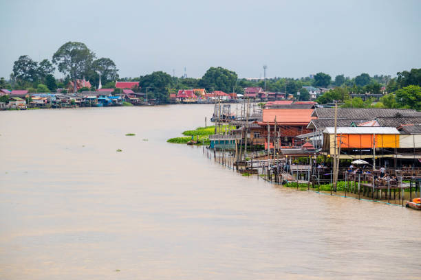 Thailand traditional riverside village near Bangkok. Ko Kret, Nonthaburi Thailand stock photo
