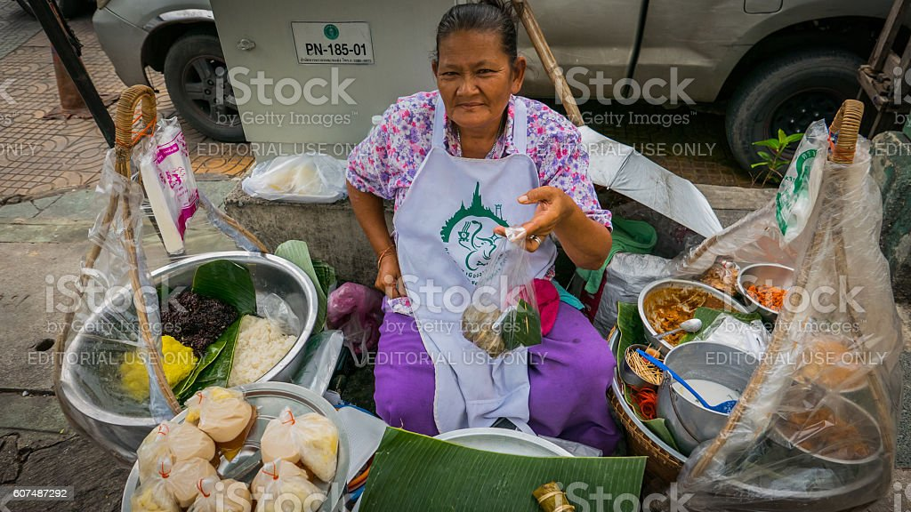 Thailand vendors are selling thai style desserts on the side road at...