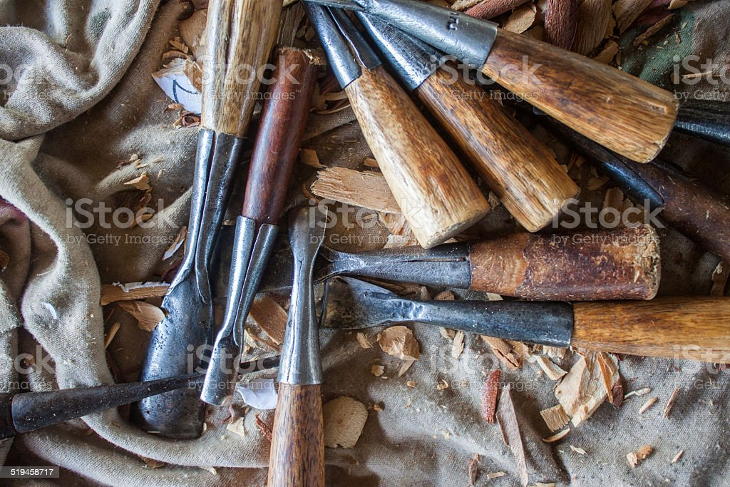thailand woodcarving stock photo