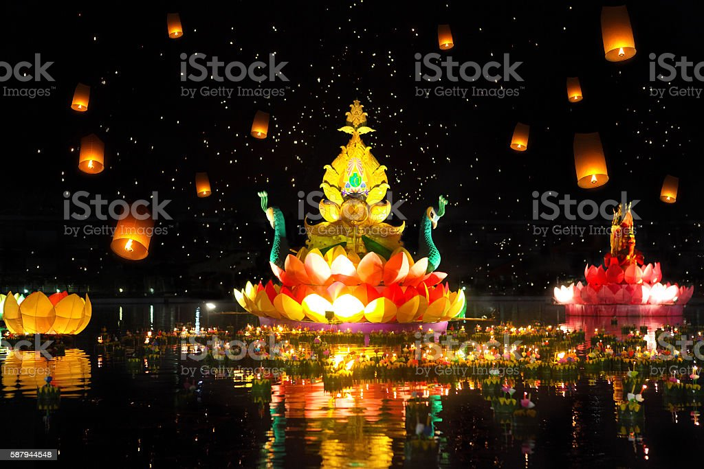 Thailands traditional Loy Krathong Festival stock photo