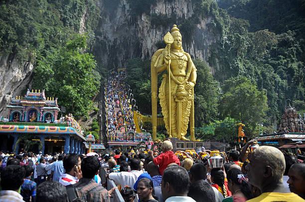 Thaipusam Festival Batu Caves, Malaysia - February 3, 2015: Thousands of Hindus visit Batu Caves, Malaysia, to celebrate Thaipusam batu caves stock pictures, royalty-free photos & images