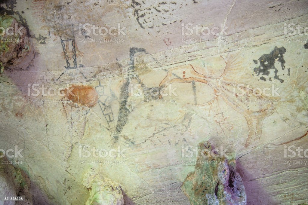Thai's cave painting at Krabi stock photo