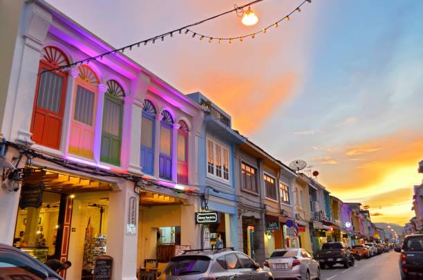 Thalang Road at twilight in Phuket Old Town stock photo