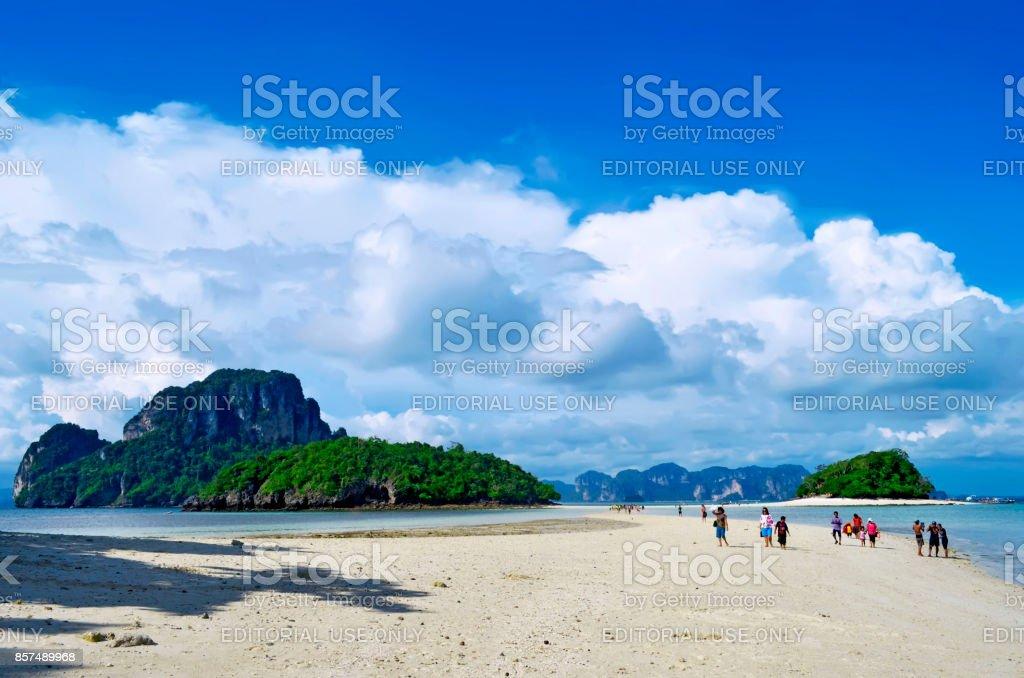 Thale Waek between Chicken island in the foreground and Poda island and Tup island in the background stock photo