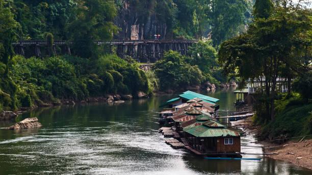 Tham Krasae railway landmark of Kanchanaburi. stock photo