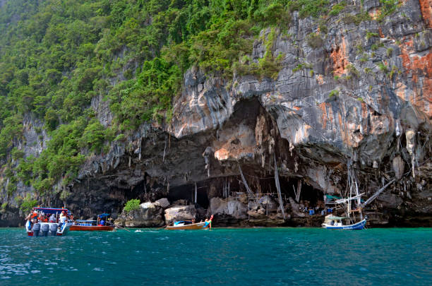 Tham Phaya Nak, the Viking Cave at Phi Phi Leh island stock photo