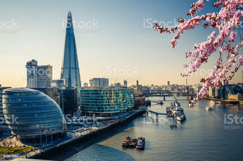 Thames and London City at spring stock photo