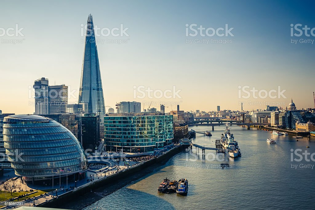 Thames and London City stock photo