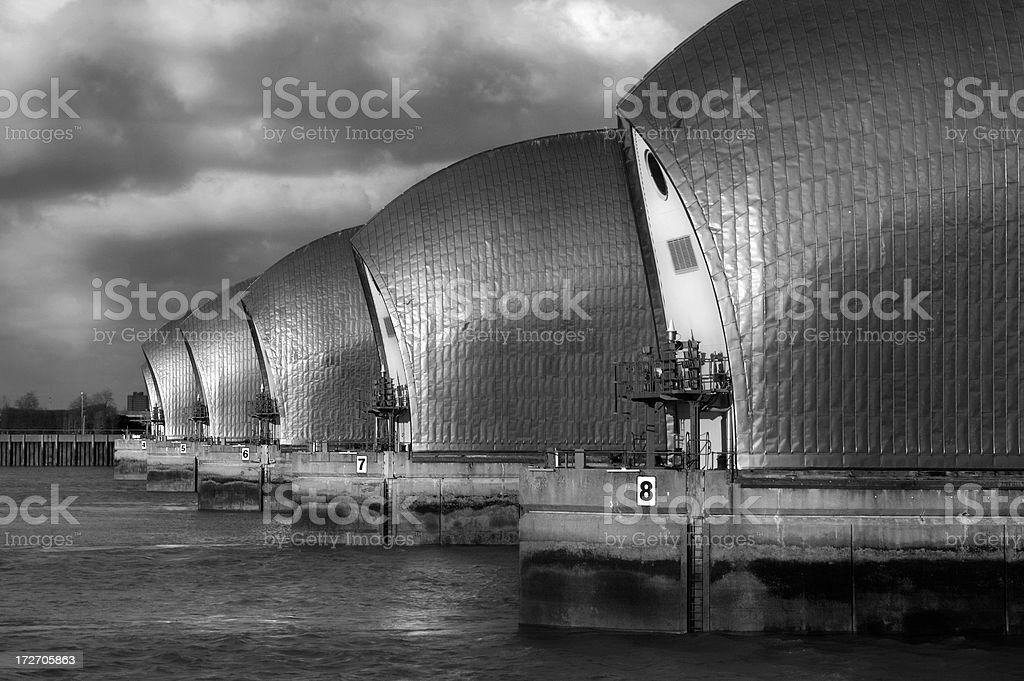 Thames barrier b&w stock photo