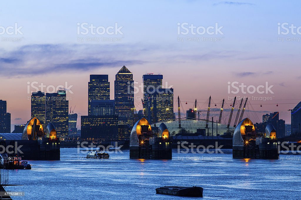 Thames barrier dusk stock photo