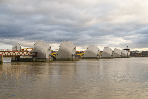 London, United Kingdom - January 2 2021: Daytime view of the Thames Barrier, Greenwich.