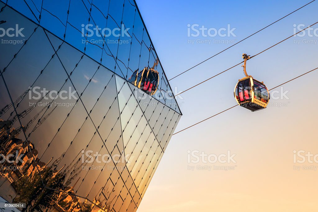 Thames Cable Car in London stock photo
