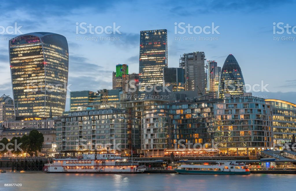 Thames embankment and london skyscrapers in City of London stock photo