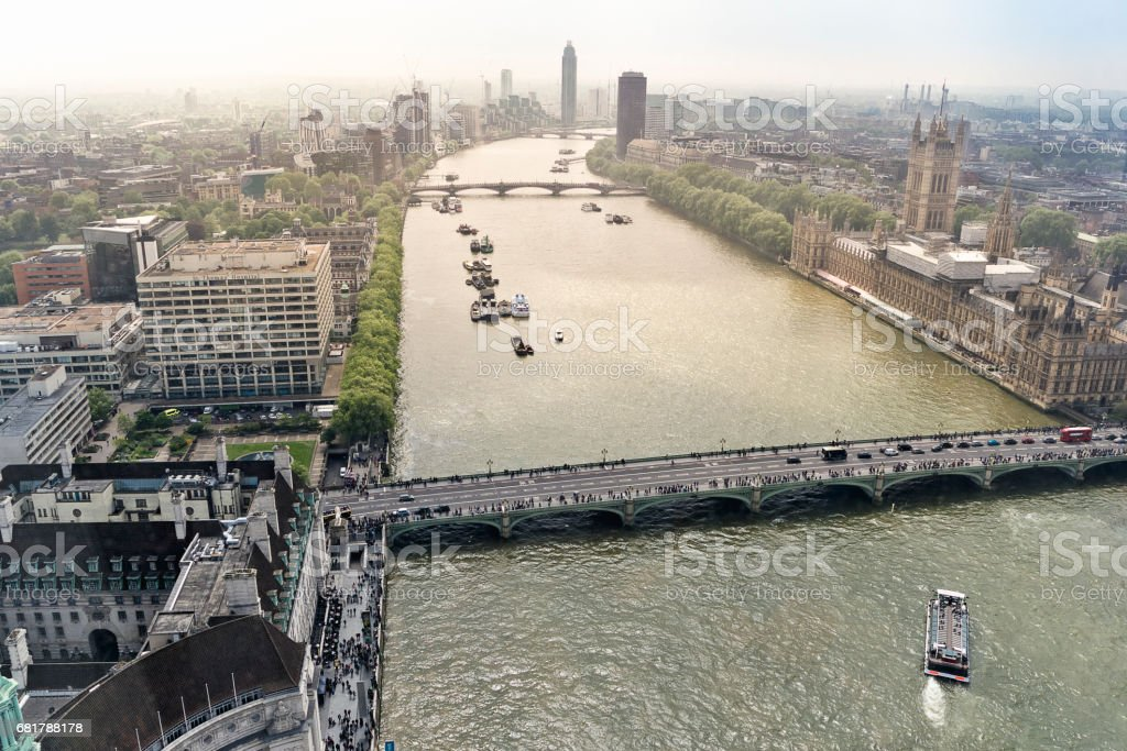 Thames river and westminster bridge stock photo