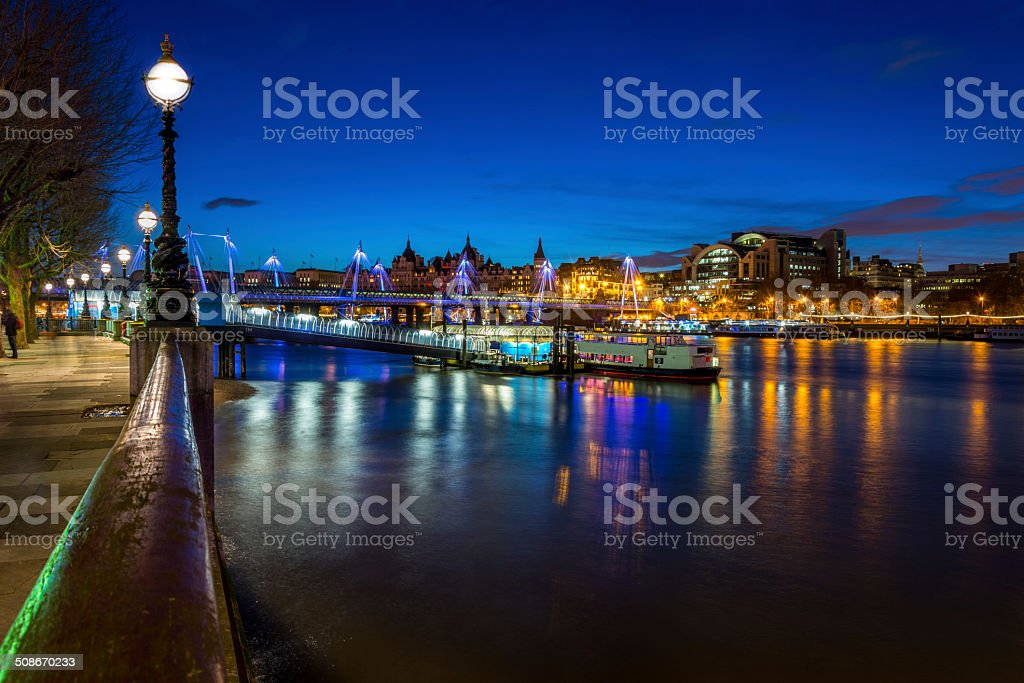 Thames river by Night stock photo