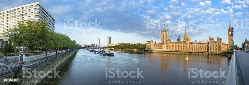 Thames River House of Parliament Panorama royalty-free stock photo