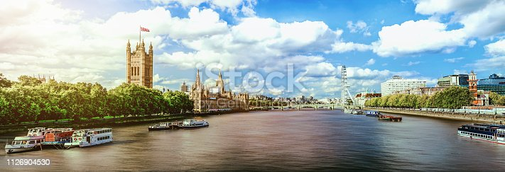 Thames River panorama and London eye with Westminster Palace in London
