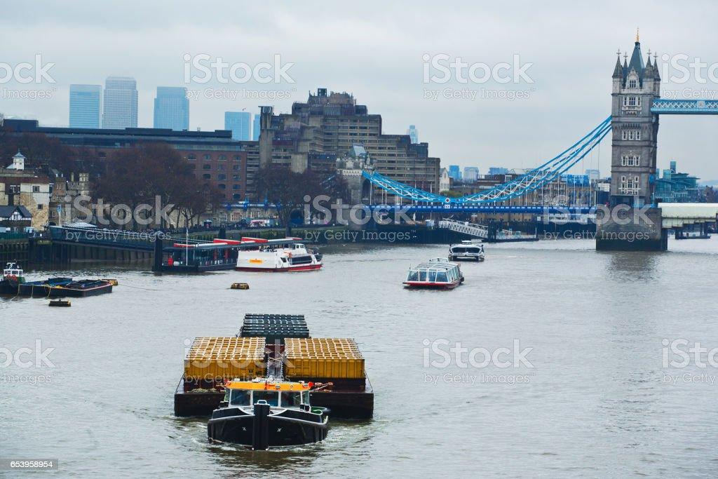 Thames river transportation barge stock photo