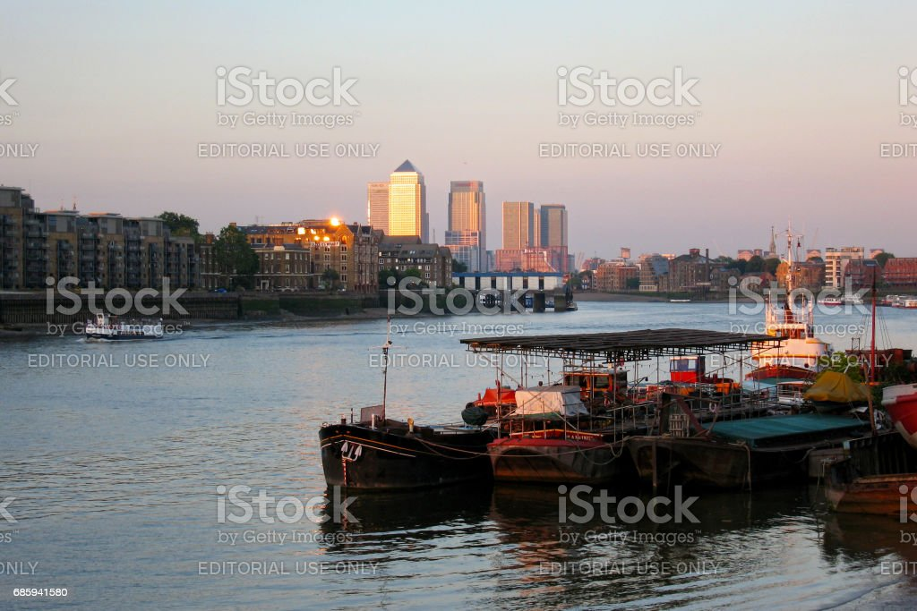 Thames river with Canary Wharf stock photo