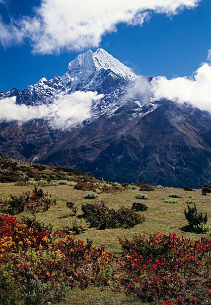 Thamserku in the Himalayas. stock photo