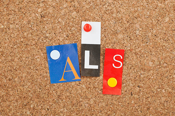 ALS ALS single letters pinned on cork noticeboard amyotrophic lateral sclerosis stock pictures, royalty-free photos & images