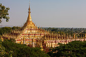 Pagoda, temples on Sagaing hill, Mandalay, Myanmar. View from the river.