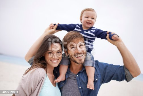 Cropped shot of a young couple and their son at the beach