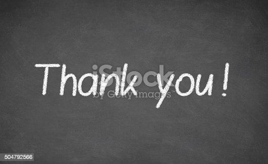 istock Thank you blackboard sign. 504792566