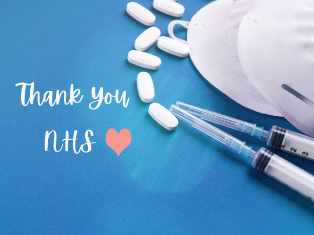 Thank you card for nhs staff on blue stock photo