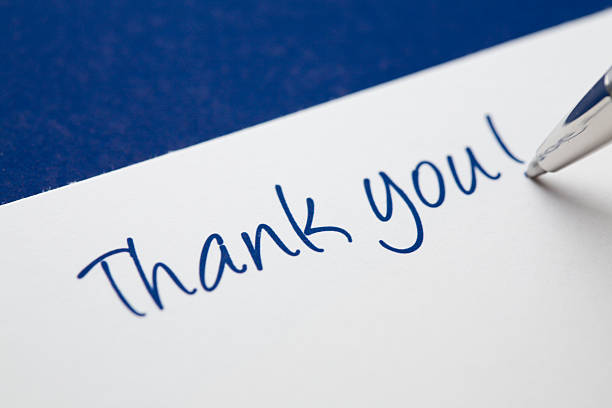 thank you card on blue - thank you stock pictures, royalty-free photos & images