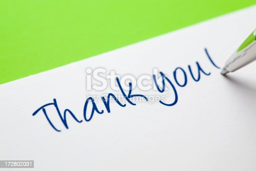 1050881964 istock photo Thank You Card on Green 172802031