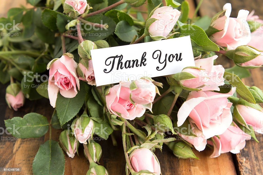 Thank You Card With Bouquet Of Pink Roses Stock Photo & More ...