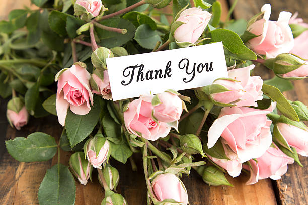 Thank You Card with Bouquet of Pink Roses stock photo