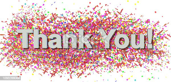 1068057218 istock photo thank you carnival party confeti decoration background multi colors - 3d rendering 1093288066