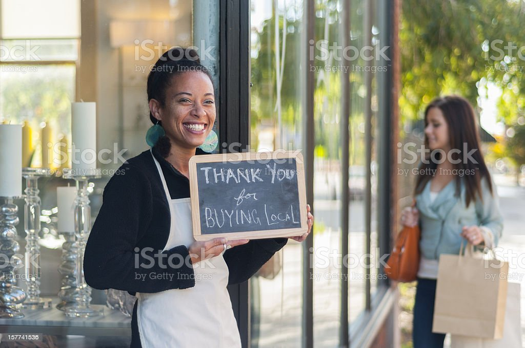 Thank you for buying local stock photo
