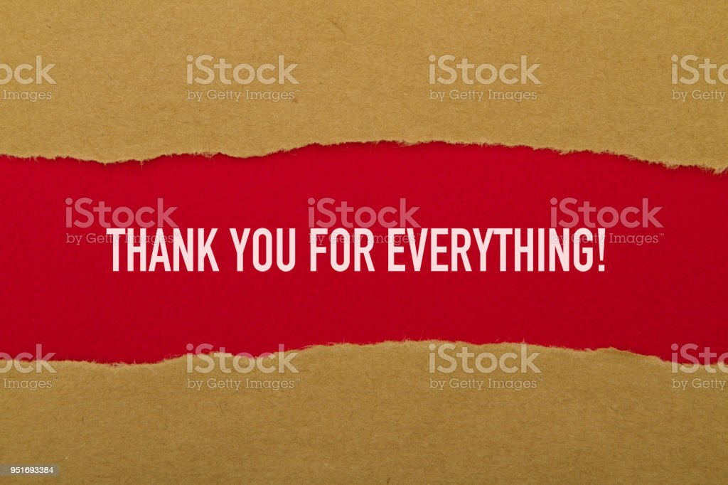 Thank you for everything written under torn paper.