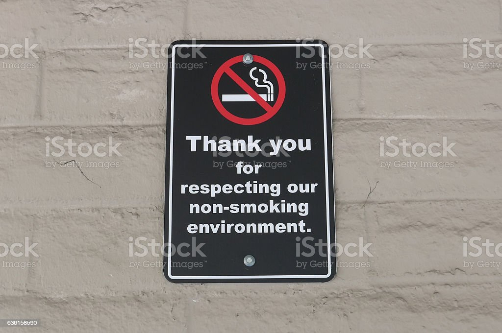 Thank you for respecting our non-smoking environment sign on wall stock photo