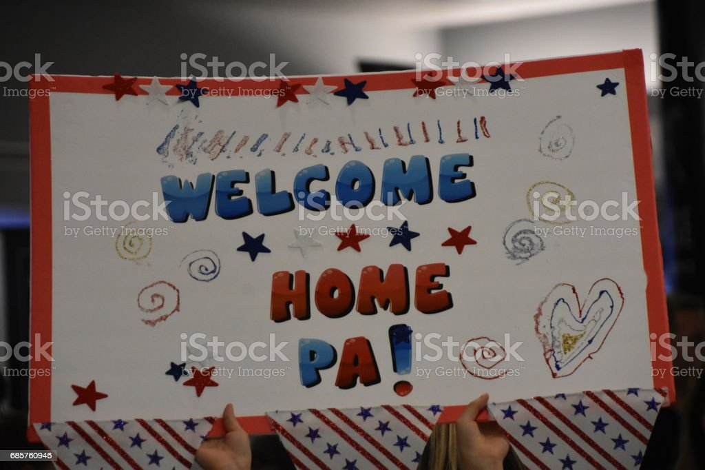 Thank you for the service sign - Welcome sign for American soldiers...