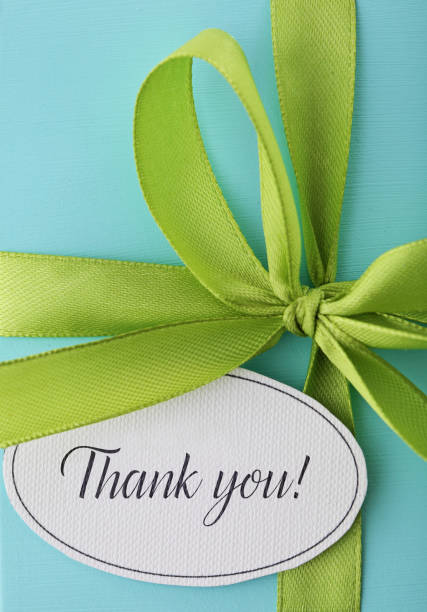 thank you gift box - gift tag note stock photos and pictures