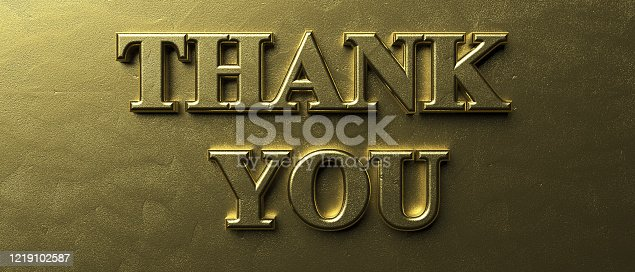 istock Thank you gold color text on luxury golden background. 3d illustration 1219102587