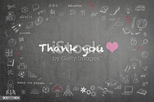 977488078 istock photo Thank you greeting on teacher's school chalkboard 900111904