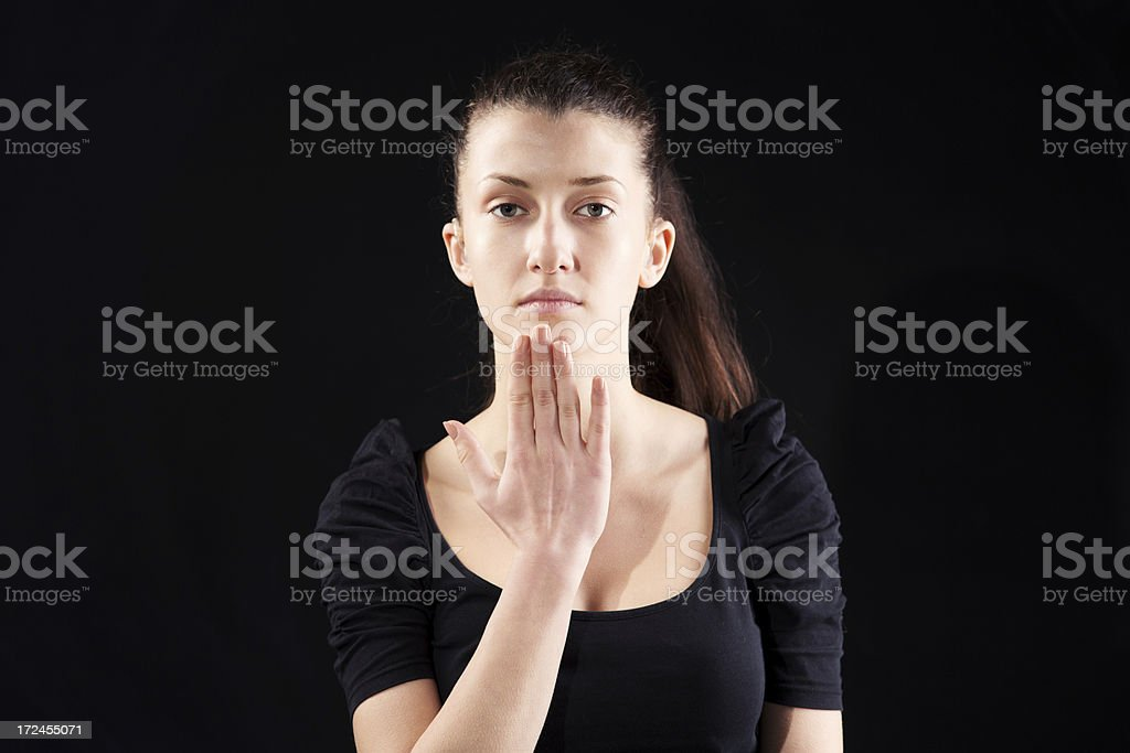Thank you hand sign stock photo
