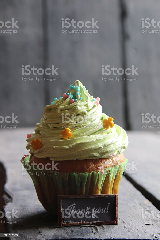 Thank you handwritten and cake stock photo